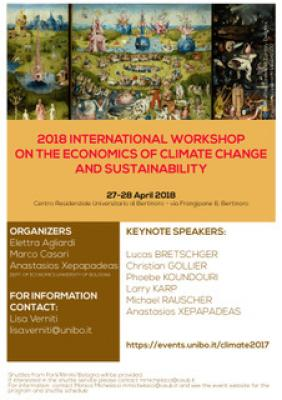 Prof Phoebe Koundouri and Prof Anastasios Xepapadeas will be speaking at 2018 International Workshop on The Economics Of Climate Change And Sustainability, Bologna, 27 & 28 April 2018.