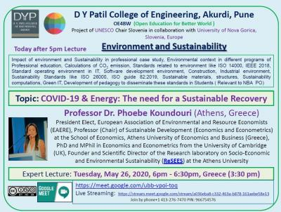 Lecture of Prof. Koundouri -International FDP (OE4BW) UNESCO Project, on Environment and Sustainability for 614 faculty from India