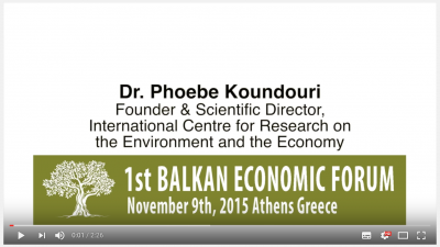 1st Balkan Economic Forum - Prof. Phoebe Koundouri on Conflict Resolution Research Funds