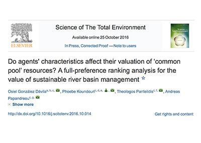 """Do Agents Characteristics Affect their Valuation of Common Pool Resources? A Full-Preference Ranking Analysis for the Value of Sustainable River Basin Management."" is now downloadable"